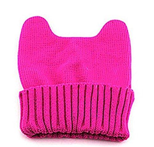 Huihuger Winter Warm Knit Hörner Lovely Cat Ohr Mais Hat Beanie Cap für Frauen Mädchen (Rosa-) (Cat Knit Beanie Ear)