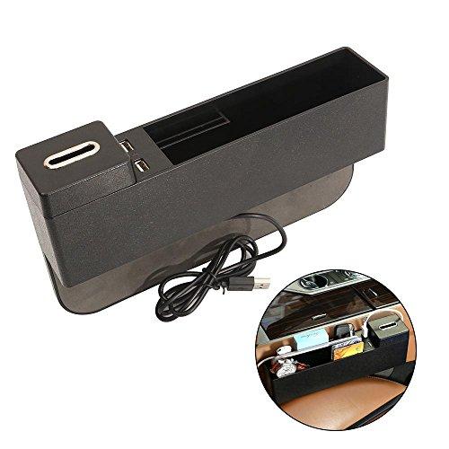 Autositz Gap Filler, Aolvo Console Seitentaschen Catcher Storage Organizer Universal Kunststoff Caddy mit USB Ports und Abnehmbare Münzhalter & Baffle Black -