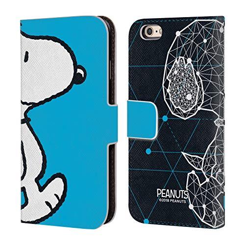 Head Case Designs Offizielle Peanuts Snoopy Geometrisch Halbzeiten Und Gelächter Brieftasche Handyhülle aus Leder für iPhone 6 / iPhone 6s