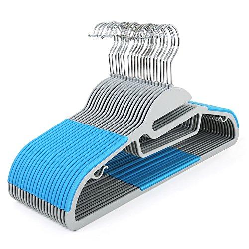 Songmics Conjunto de 20 Perchas de plástico ABS Antideslizantes Resistentes para Camisas Chaquetas Pantalones Vestidos Faldas 41,5 cm Azul CRP41Q