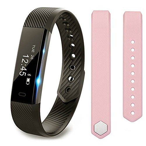 Fitness Tracker, Zoopr Activity Bracelet & Smart Step Counter For Men, Women & Kids | Waterproof Wearable Wristband Smart Watch With Touch Screen For iOS & Android | Records Pedometer Distance/Sleep Monitor/Calories Burnt + Free Pink Strap Worth £9.99 (B
