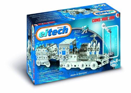 Eitech 00091 - Metallbaukasten Starter-Set - Lokomotive mit Anhänger, 180-teilig