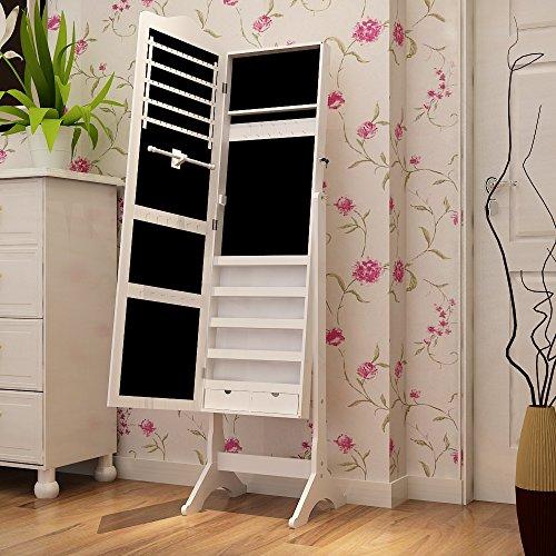 Aparador Mdf Provençal ~ Songmics Armario de pie con espejo para joyas, joyero de madera de pie, color blanco 158 cm