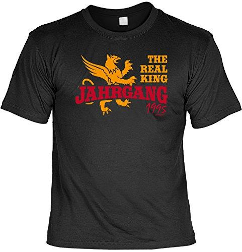 Cooles T-Shirt zum 22. Geburtstag - The Real King Jahrgang 1995 - Geschenk zum 22. Geburtstag 22 Jahre Geburtstagsgeschenk Schwarz