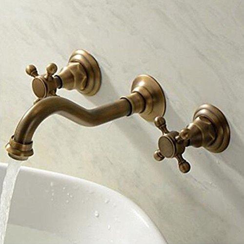 Klassische Antike Messing Wand (oukaning Luxus Klassisch Retro Wand montiert Griff antik messing Badezimmer Basin Wasserhahn Kreuz Einhebelmischer 3Löcher)