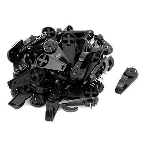 sourcingmapr-50-pcs-black-plastic-hard-wall-picture-frame-nail-hook-hanger