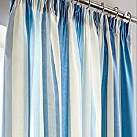 """Printed Vertical Stripe Blue Grey Cream Lined 66"""" X 72"""" - 168cm X 183cm Pencil Pleat Curtains from Curtains"""
