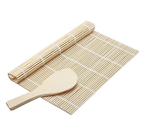 Chytaii Estera de Sushi con Cuchara de Madera Esterilla de Rollo de Sushi Herramientas Sushi de Bambú Molde Alfombra de Sushi Japonés DIY