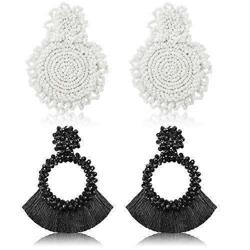 2 Paare Anweisung Tropfen Ohrringe Böhmischen Perlen Runde Handgemachte Hoop Quaste Ohrringe für Damen Mädchen Schmuck (Stil Set 1) (Ohrringe Hoop Perlen)