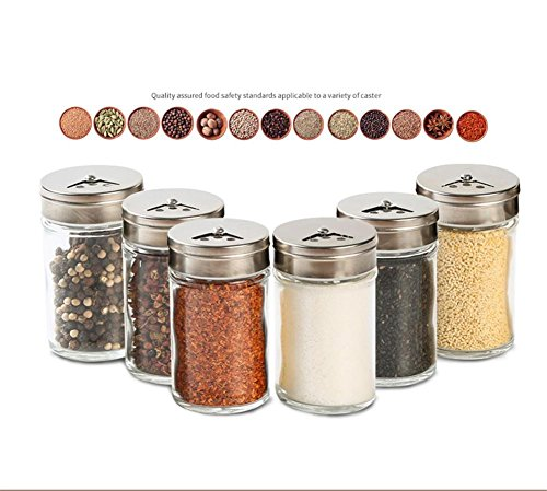 Ahui Gewürzglas Gewürze Dosen Gewürzglas Glas Kochen und Essen 80ML - Set von 10 (Acryl-krug Und Glas-set)