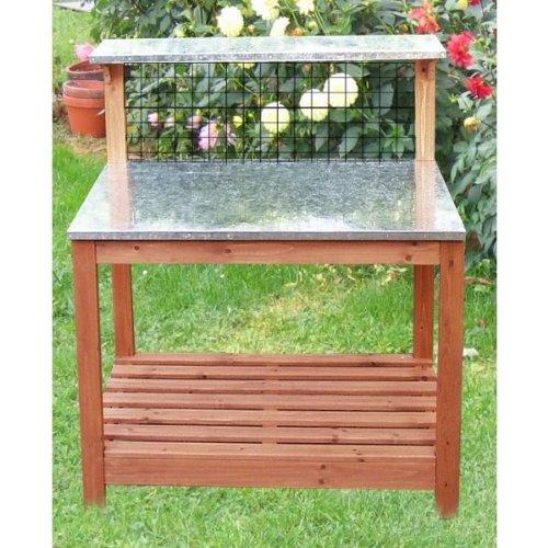 Gartentisch Mit Verzinkter Arbeitsplatte 101 X 55 X 117 Cm 12271