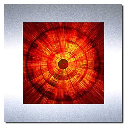 Bild auf Metall - FIRE - abstrakte Bilder moderne Kunst - Metallbild Kunstdruck limitierte Edition auf geschliffenem Aluminium im Edelstahl-Design - beeindruckende Wandbilder - in EINWEG Verpackung -