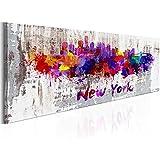 Cuadro en Lienzo 135x45 cm - XXL - Impresion en calidad fotografica - Cuadro en lienzo tejido-no tejido 1 parte - Abstraccion New York ciudad d-B-0047-b-a 135x45 cm B&D XXL