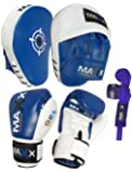 Blue/W Curved Focus pads, Hook & Jab Pads with Gloves & FREE hand wraps