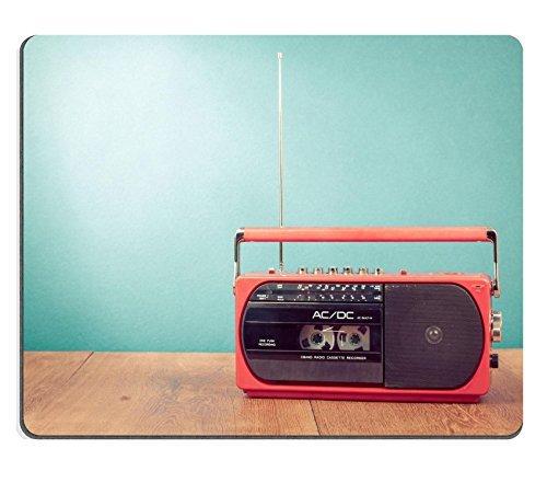 Luxlady Mousepads Old Radio rojo retro grabador cassette