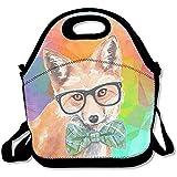 Watercolor Fox Lunchtasche mit Sonnenbrille und Fliege, große und dicke Neopren, isolierte Lunch-Taschen, warme Tasche mit Schultergurt, für Damen, Teenager, Mädchen, Kinder, Erwachsene