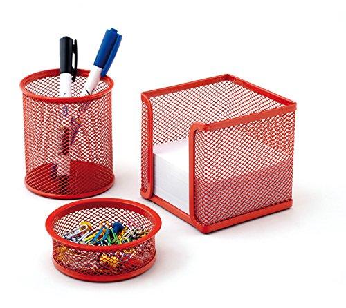 Schreibtisch-Set Office 3-teilig, Drahtmetall, Rot -