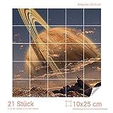 Graz Design 765097_10x25_70 Fliesenaufkleber Fliesenbild Fliesensticker für Badezimmer Saturn Weltall Planet (Fliesenmaß: 10x25cm (BxH)//Bild: 70x70cm (BxH))