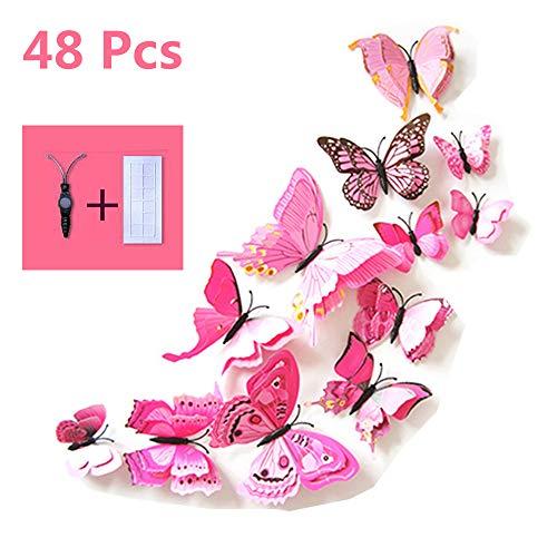 erlinge Deko Wandtattoo mit Magnet,Pastell Aufkleber Fee Schmetterling Butterfly Wandsticker Wandaufkleber Wanddeko Wandkunst Selbst-Klebend für Wohnung Raum Dekoration(Rosa) ()