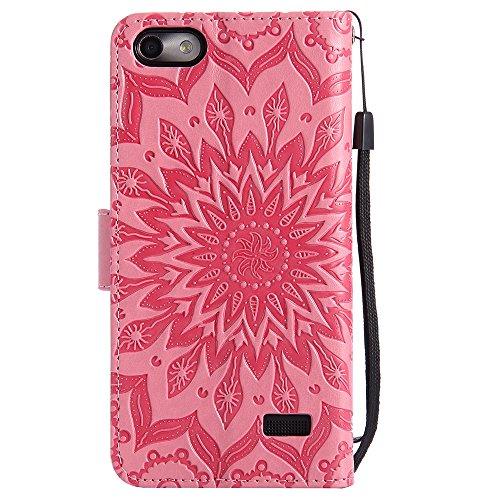 Für Huawei Hornor 4c Fall, Prägen Sonnenblume Magnetische Muster Premium Soft PU Leder Brieftasche Stand Case Cover mit Lanyard & Halter & Card Slots ( Color : Gray ) Pink