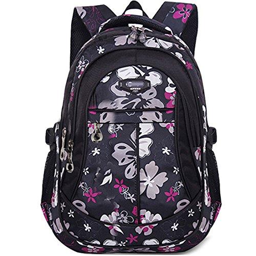 KAXIDY Schulrucksäcke Schultaschen Rucksäcke Kinderrucksack Rucksack Für Jungen Mädchen (Schwarz-Rot)