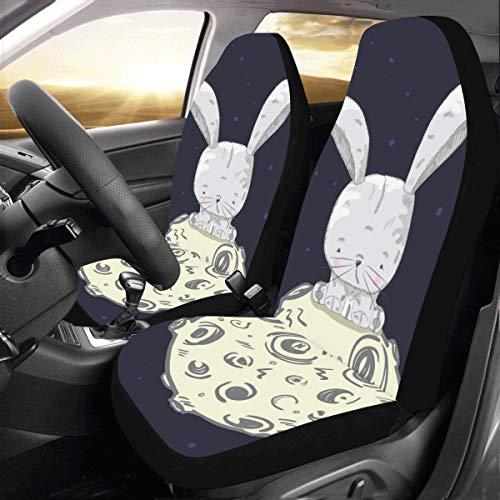 Coprisedili per camion Simpatici conigli bianchi pelosi Carota Universale Adatto Coprisedili per auto per auto Protezione per camion Auto Suv Veicoli Donne Lady (2 anteriori) Coprisedili per auto