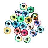 Kofun DIY Augen Puppen, 20 Stücke Glas Handwerk Tier Augen Schmuck Zubehör zu Der Dinosaurier Auge Zubehör Ohne Selbstklebende 20mm