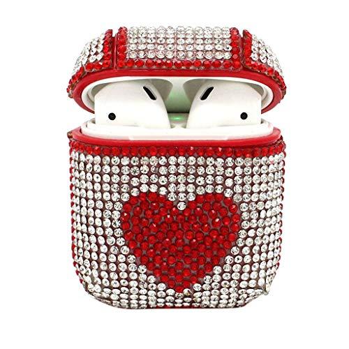 TianranRT Bling Luxuriös Diamanten Herzform Schutzhülle Hülle Cover für Airpods Kopfhörer (Rot)