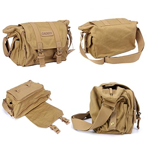 tubackpack DSLR-Kamera Micro SLR Foto Tasche für Single Schulter Taille Pack Cross-Body-Objektive Gelb Khaki M