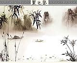 HD, 350x245cm3D Mural de papel tapiz de pintura de paisaje chino de tinta, Foto moderna Decoración de arte Habitación Imprimir póster