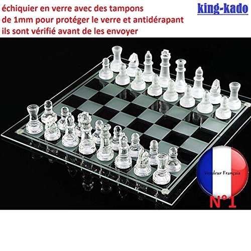 Juego de ajedrez de cristal Con 32 figuras Campo de juego de 20 x 20 c