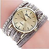 Venta de liquidación, WSSVAN Recomendado para señoras de moda pulsera reloj anillo remache diamante lleno reloj de moda dial grande aleación señoras simples reloj de pulsera (gris)