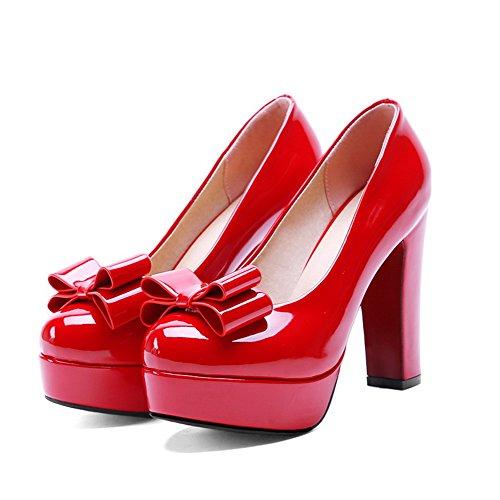 VogueZone009 Femme Rond à Talon Haut Couleur Unie Tire Chaussures Légeres Rouge