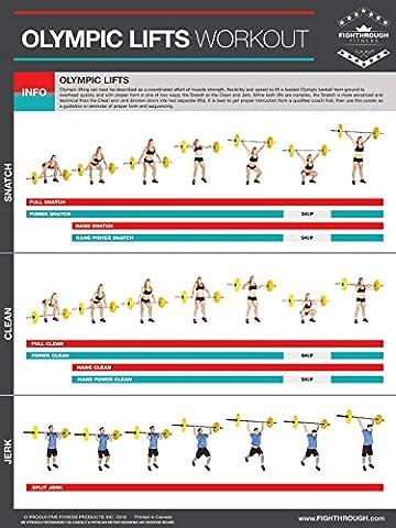Olympic Soulève–Affiche plastifiée levage Poster/tableau des pour–de Solidité et de Cardio Training–Core–Coffre–Pieds–Les épaules–Dos–développer les muscles, la tonalité et Renforcez la–45.72cm x