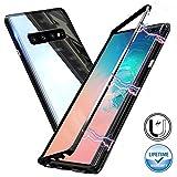 Custodia magnetica per Samsung Galaxy S10 Plus, Cover posteriore rigida in vetro temperato [Cornice magnetica incassata in metallo], Custodia protettiva Ultra Slim per Samsung Galaxy S10+ 6.4'[Nero]