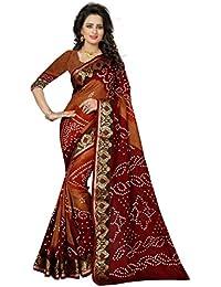 Kiranz Web Store Women's BhagalPuri Cotton Silk Saree With Blouse Piece (KWS_135_Bandhani_Maroon&Brown Color)