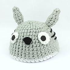 Gorro de Lana del personaje Totoro de Mi Vecino Totoro, hecho con lana en Ganchillo para Recien Nacido
