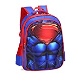 RosewineC Kids School Bag Spiderman Backpack Captain America Batman For Boys Children School Backpack with 3D Anime Super Hero Design(Superman-L)