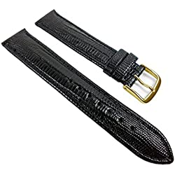 Eulit Teju-Print Replacement Band Watch Band Leather Kalf Strap black leather 533 XL_10G, Abutting:16 mm