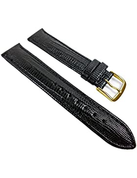 Eulit Teju-Print Ersatzband Uhrenarmband Kalbsleder Band Schwarz 533_10G, Anstoß:14 mm