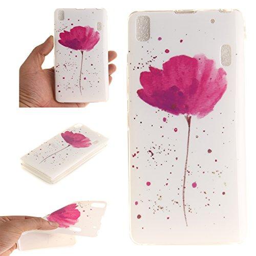Qiaogle Teléfono Caso - Funda de TPU silicona Carcasa Case Cover para Lenovo K3 Note A7000 / K50-t5 4G LTE (5.5 Pulgadas) - TX33 / Rose lotus daffodils