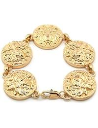 Bracelet de ton or à 5 breloques Medusa tête de serpent, chaîne à maillons XB348G