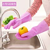 CWAIXX Washing glove _1995 Thin LaTeX household gloves kitchen clean waterproof rubber household gloves , Trumpet S Code purple