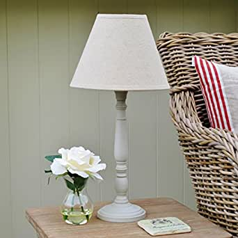french grey wooden table lamp base and linen shade h 50m lighting. Black Bedroom Furniture Sets. Home Design Ideas