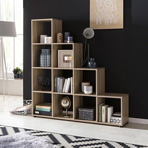 FineBuy Stufenregal Lucia Sonoma Eiche Treppenregal für Ordner & Bücher 10 Fächer Holz | Design...