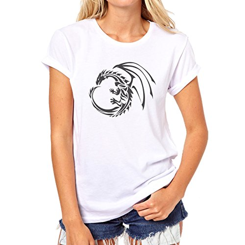 Dragons Black Round Wings Strange Damen T-Shirt Weiß