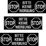 3 Aufkleber 12cm Sticker groß Stop Bitte Keine Werbung Reklame einwerfen Hinweis Briefkasten