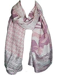 Mevina Damen Schal mit Silber Pailletten Camouflage Hahnentritt Leo Wellen Print Muster groß Sommer Tuch Sommerschal Halstuch Premium Qualität