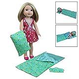 ZITA ELEMENT Puppenbettzeug Bettwäsche für 35-36cm Babypuppen American Girl Puppen Schlafsack Kissen mit Schlafmaske Puppenbettwäsche (Grün)