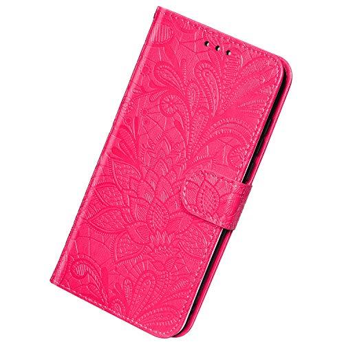 Herbests Kompatibel mit Huawei Mate 30 Pro Hülle Klapphülle Leder Tasche Flip Schutzhülle Wallet Handyhülle 3D Spitze Henna Mandala Blumen Muster Brieftasche Handytasche Flip Case,Rose Pink